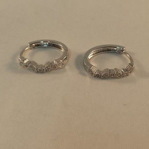 Jewelry - 18K White Gold Zircon Oval Hoop Huggie Earrings GF